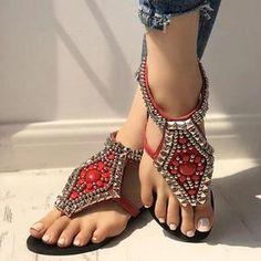 Women Summer Vintage Beaded Rhinestone Flip Flops Gladiator Zipper Sandals  Rhinestone Heels 47b9c94cd6cf