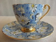 "Shelley Bone China Cup Saucer Set Chintz ""Blue Daisy"" W Gold Gilt"