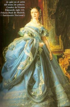 """It is a picture of the Infanta Isabel de Borbon, Spain, she is called """"La Chata"""" Victorian Women, Victorian Art, Victorian Fashion, Vintage Fashion, Historical Costume, Historical Clothing, Queen Isabella, Turquoise Dress, Old Dresses"""