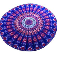 Purple Medallion Round Fringe Beach Towel Exquisite Traditional Embroidery Art Towels & Washcloths