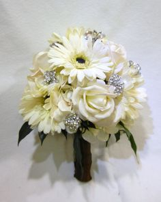 Bridal  Bouquet with Cream/White Hydrangea Blooms, White/Cream Gerber Daisies, and White/Cream Real Touch Roses accented with Rhinestones. $150.00, via Etsy.