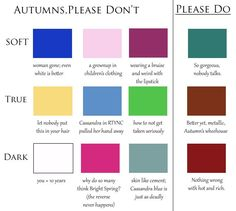 One reader asked if I see any browns as worse for True Autumn than black. That's kind of a challenge, like telling a massage therapist nothing hurts today :) Spring has some light beiges that are flat on True Autumn. The pink browns of the Summers do nothing to help this person.
