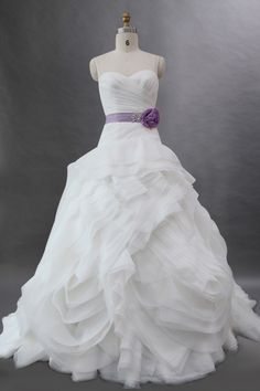 Ruffled Organza Strapless Ball Gown Wedding Dress with Lilac Ribbon JSWD0201