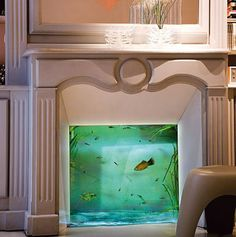 If It's Hip, It's Here: No Room For An Aquarium? Think Again. 20 Unusual Places In Your Home For Fish Tanks. This is perfect! I want the look but not an actual fire place Aquarium Diy, Aquarium Design, Aquarium Fish Tank, Aquarium Ideas, Wall Aquarium, Unique Fish Tanks, Cool Fish Tanks, Amazing Fish Tanks, Awesome Tanks