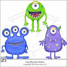 Your Free Art: Digital Clipart Scrapbook Crafts Borders Printable Stamps Cards: Free Blue, Purple and Green Cartoon Alien Monsters!