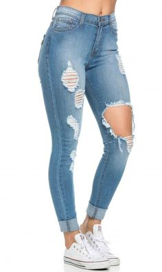 992afba9ac01 High Waisted Distressed Skinny Jeans in Blue (Plus Sizes Available)
