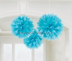 "Our bright blue Fluffy Decorations are perfect to hang from a ceiling or doorway to instantly bring a fun mood to your party and guests! Our fluffy decorations are bright pink and measure 16"" in diameter. Package includes 3 decorations."