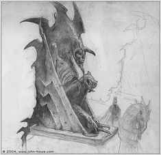 Minas Morgul statues by John Howe (concept for The LotR movie)