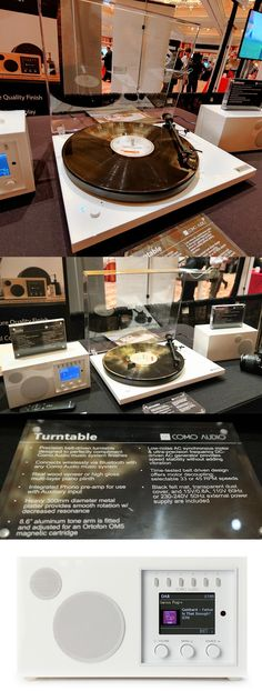 The Como Audio Turntable takes vinyl record collections back to the future wirelessly. The Turntable, designed by Como Audio CEO Tom DeVesto, who has a long history of creating premium analog and digital audio products, has ports for wires and a built-in preamp but can also stream music from 33- and 45-rpm records wirelessly via Bluetooth to devices like Como Audio's Solo Internet radio, shown here with Ambiente speakers. Seen at 2019 International CES. #BacktotheFuture #CES2019 #ShowStoppers Vinyl Record Collection, Internet Radio, Cool Tech, Digital Audio, Back To The Future, Turntable, Speakers, Vinyl Records, Bluetooth
