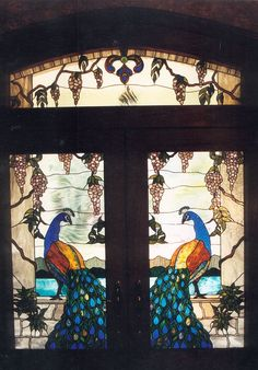 stained glass peacock doors with wisteria
