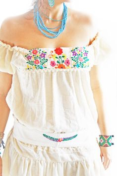 Mexican mini dress off shoulder embroidered natural cotton w belt