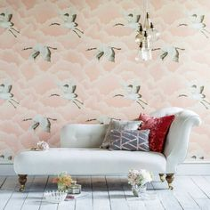 Style Library - The Premier Destination for Stylish and Quality British Design | Products | Cranes In Flight (HGAT111232) | Palmetto Wallpapers