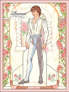 Romeo & Juliet Paper Dolls by Eileen Rudisill Miller, Dover Publications, 8 sample pages (2 of 8)
