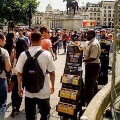 Public witnessing in Trafalgar Square, London, England.