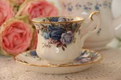 Royal Albert Moonlight Roses Tea Cup and by daisysvintageteasets