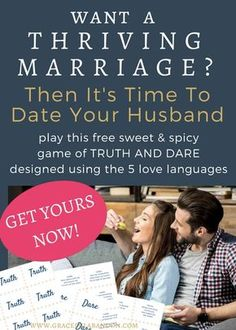 Free At-Home Date Night game to spice things up! Play this delightful (and delicious) Truth & Dare with your husband this weekend to add some extra fun and romance to your marriage. Marriage Romance, Strong Marriage, Marriage Advice, Quotes Marriage, Date Night Games, Reasons To Get Married, Sweet Games, Truth And Dare, Love Dare