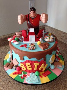 Disney Party Ideas: Wreck it Ralph Party Disney Desserts, Disney Cakes, Disney Themed Cakes, Crazy Cakes, Birthday Cake 30, Novelty Birthday Cakes, Birthday Ideas, Vanellope Y Ralph, Gateaux Cake