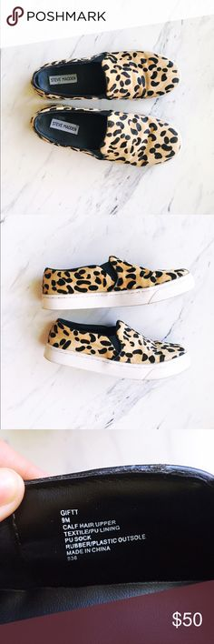 Steve Madden Leopard Calf Hair Slip On Sneakers Practically perfect condition! Only worn once or twice, really great with an all black outfit and great for the upcoming fall months. Steve Madden Shoes Sneakers