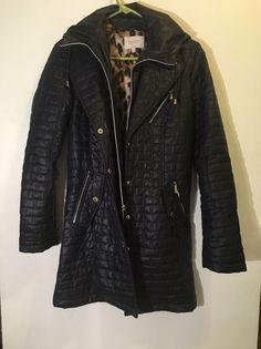 Laundry Shelli Segal LA Black Hooded Animal Print Lining Puffer Coat Size Medium  | eBay