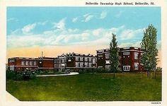 Belleville Illinois IL 1925 Township High School Antique Vintage Postcard