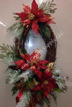 Red and gold poinsettia on grapevine wreath Grapevine Christmas, Christmas Door Wreaths, Christmas Swags, Christmas Lanterns, Christmas Poinsettia, Holiday Wreaths, Christmas Ornaments, Grapevine Wreath, Poinsettia Wreath