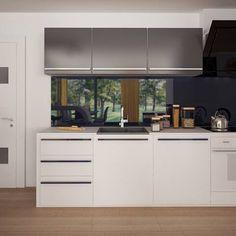 gotowy projekt domu Z378 – aranżacja wnętrz, Parterowy dom z garażem dwustanowiskowym. House Plans Mansion, Concept Home, Modern House Design, Bungalow, Kitchen Cabinets, How To Plan, Mansions, Table, Furniture