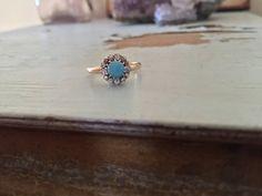 Antiguo anillo de oro racimo turquesa diamante por HudsonandKing