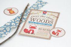 Woodland Fox Birthday Invitation - First Birthday Invitation, Woodland, Boy Birthday Invitation, Girl Birthday Invitation