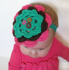 Crochet Flower Headband with buttons for baby by PeacoatsAndPlaid, $10.00