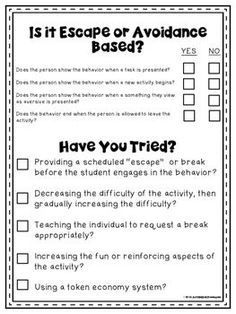 Behavior Support & Functional Behavior Assessment Checklist (Free) These are free forms that you can use when doing a behavioral assessment.These are free forms that you can use when doing a behavioral assessment. Classroom Behavior Management, Behavior Plans, Student Behavior, Behaviour Management, Behavior Charts, Behavior Tracking, Behavior Analyst, Autism Classroom, Special Education Classroom