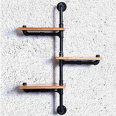 DIY Book Shelves American Iron Wall Industrial Loft-Style Wood Wall Shelf Shelves Retro Water Pipe Rack Bookcase-(Z22) - USD $97.99