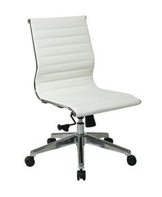 OSP Furniture Armless Mid Back White Bonded Leather Chair