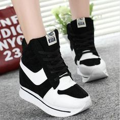 c8cff2a8846fa High Top Ladies Canvas Casual Shoes with Platform Wedges High Heel