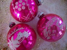 Pink Christmas ornaments.