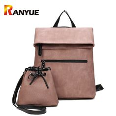 2 PCS/SET Women Backpack PU Leather Backpack Women 2017 Hotsale School Bags for Teenagers Famous Brand Black Femal Backpack New - Fatekey Backpack Bags, Fashion Backpack, Ladies Backpack, Tote Bag, Crossbody Bags, Backpack Online, Mini Backpack, Laptop Backpack, Black Backpack