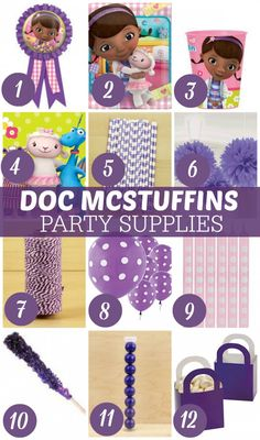 1. Doc McStuffins award ribbons 2. Doc McStuffins lunch napkins   3. Doc McStuffins plastic cup   4. Doc McStuffins beverage napkins   5. Purple horizontal paper straw   6. Purple paper decorations    7. Purple and white baker's twine  8. Purple swiss dots latex balloons  9. Classic pink polka-dot candles  10. Grape rock candy sugar stick  11. Purple gumball tube   12. Purple favor gift baskets