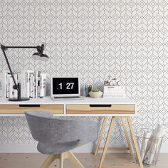 Boxed geometric removable wallpaper / cute self adhesive