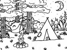 free camping coloring pages | party ideas | pinterest | camping ... - Girl Scout Camping Coloring Pages