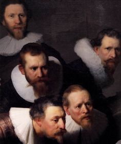 The Anatomy Lecture of Dr Nicolaes Tulp (detail) by Rembrandt, 1632