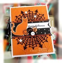 Cat Punch, Spiderweb Doily, Spiderweb EF, Spooky Night DSP, Pumpkin Pie glimmer paper