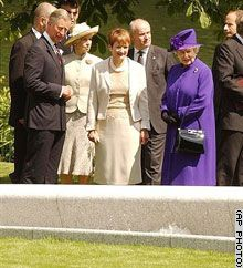 The Queen, Prince Philip, Prince Charles etc at Princess Diana's Memorial Fountain