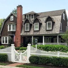 Shingle Style Homes, Gambrel Roof, Charming House, Dutch Colonial, Green Garden, Victorian Homes, Traditional House, My Dream Home, House Tours