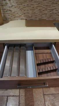 Knives holder for top drawer, natural oak looking cabinets, special compartment for foils and plastics