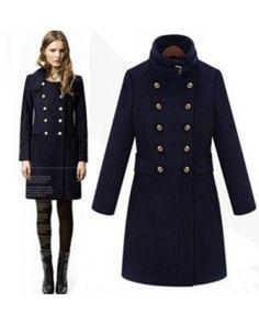 966fbc64e91a1 Manteau Officier long pour femme en laine avec double boutonnage Veste  Officier Femme, Col Officier
