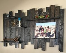 Note: this is handmade to order. Quantity in listing does not reflect actual shelves in stock. It keeps our item from being sold out so fast :) Whether you are decorating a beach inspired seaside retreat or in need of a trendy, weathered pallet wood shelf you will find this reclaimed wood piece adds style and function to your space. Materials/Specs: -21 x 22 x 3.5 inches handcrafted solid oak and pine pallet wood shelf -sanded smooth and white washed, there is no blue paint on this piece...