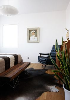 eclectic rustic modern bedroom