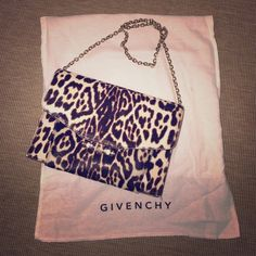 """Givenchy leopard clutch This bag end up with me by my impose purchase during the sale season. It's called Evening Bag Plexi M on the original tag. Brand new never used. Size: 8.5""""W x 6.25""""H x 2.5""""D 13"""" drop for the chain strap. 100% calf leather on hide. Additional image can be provided up on request. Givenchy Bags"""