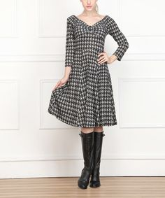 Another great find on #zulily! Black & Gray Houndstooth V-Neck Dress - Women #zulilyfinds    Seasonal Steals