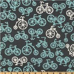 Michael Miller It's a Boy Thing Bicycles Grey $9.99