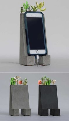 Concrete iPhone Smart Phone Charging Dock Station Stand With Artificial Succulents